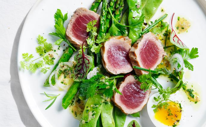 Grilled tuna salad with egg, asparagus and anchovy vinaigrette