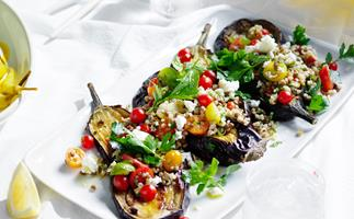 Oregano eggplant with freekeh, feta and dill