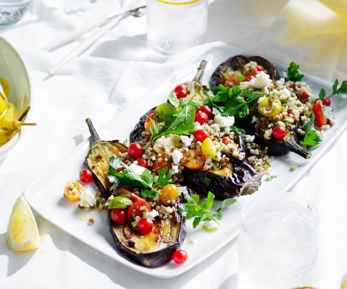 "**[Oregano eggplant with freekeh, feta and dill](https://www.gourmettraveller.com.au/recipes/browse-all/eggplant-feta-19054 target=""_blank"")**"