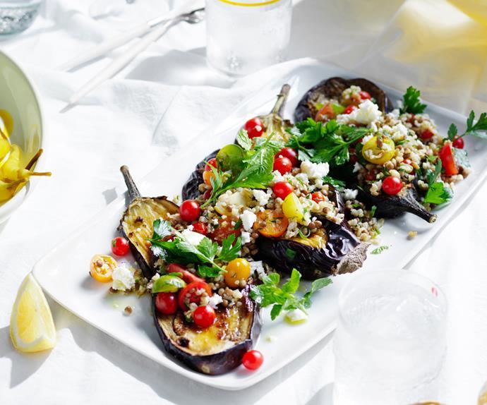 Oregano eggplant with freekeh, feta and dill