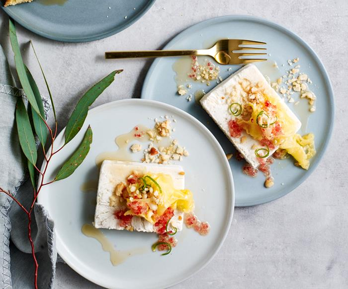 Jaclyn Koludrovic's dairy-free macadamia parfait with pineapple, ginger and finger lime