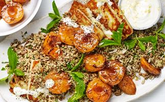 Couscous with haloumi and honey-chilli apricots