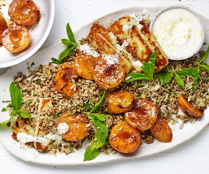 """**[Couscous with haloumi and honey-chilli apricots](https://www.gourmettraveller.com.au/recipes/fast-recipes/couscous-haloumi-19062 target=""""_blank"""")**"""