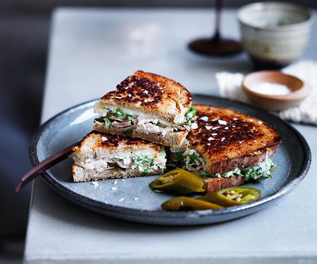 Chicken and provolone toasties with pickles and caper aïoli