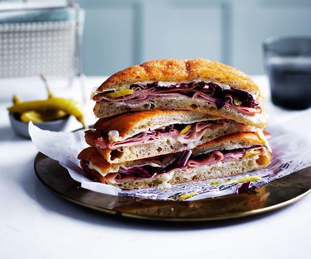 Baked mortadella, provolone and mascarpone sandwiches