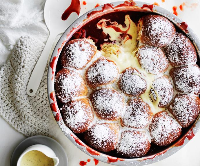 "**[Rhubarb-strawberry milk bun pudding](https://www.gourmettraveller.com.au/recipes/browse-all/rhubarb-strawberry-milk-bun-pudding-12838 target=""_blank"")**"