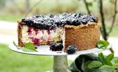 Sean Moran's goat's curd, pistachio and blackberry cheesecake