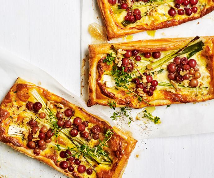 """**[Blue cheese and leek tarts with roasted grapes](https://www.gourmettraveller.com.au/recipes/fast-recipes/blue-cheese-tart-19109 target=""""_blank"""")**"""