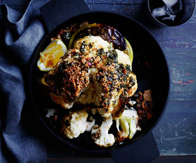 Roasted whole cauliflower with wakame butter and toasted crumbs