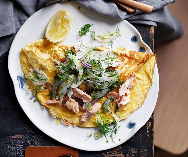 "**[Smoked trout omelette](https://www.gourmettraveller.com.au/recipes/fast-recipes/smoked-trout-omelette-13627|target=""_blank"")**"