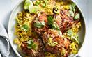 Spiced yoghurt chicken with cardamom-coconut pilaf