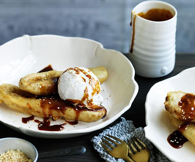 """**[Banana and coconut caramel fritters](https://www.gourmettraveller.com.au/recipes/browse-all/banana-and-coconut-caramel-fritters-12558 target=""""_blank"""")**"""
