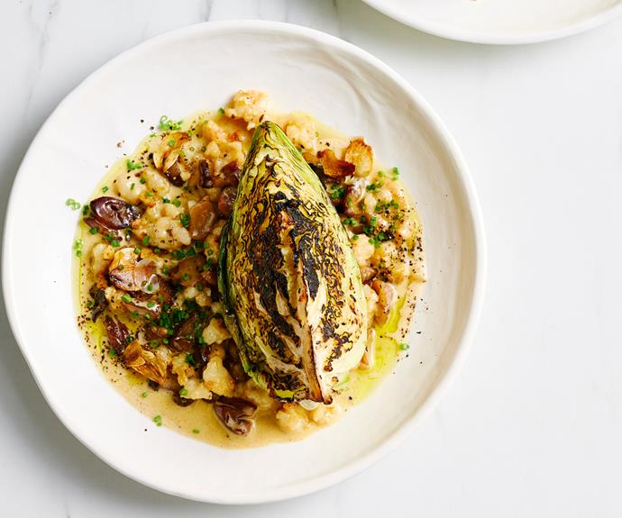 """**[Charred cabbage with chestnuts and prawns](https://www.gourmettraveller.com.au/recipes/fast-recipes/charred-cabbage-chestnuts-19306