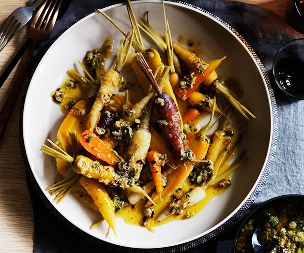 Carrots with garlic, ginger, spring onion and smoked chilli butter