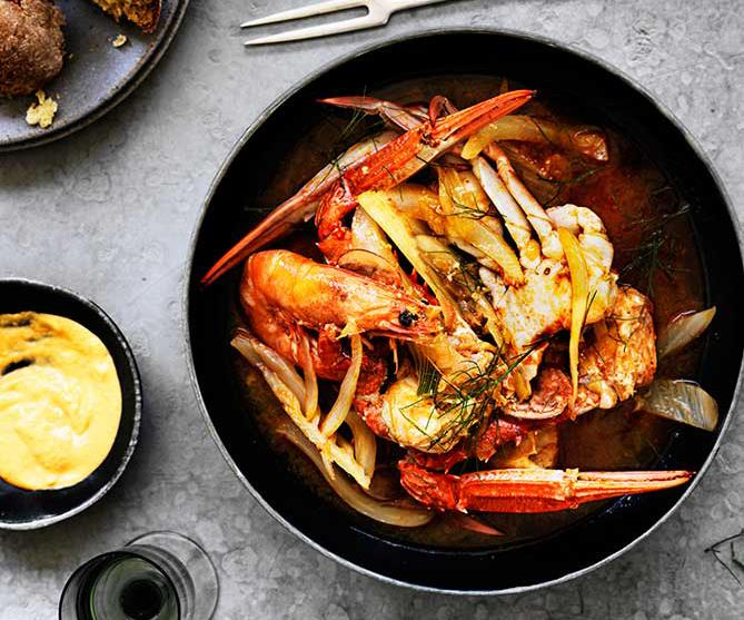 """**[Crab, prawn and fennel stew with rouille](https://www.gourmettraveller.com.au/recipes/browse-all/crab-prawn-and-fennel-stew-with-rouille-12489 target=""""_blank"""")**"""