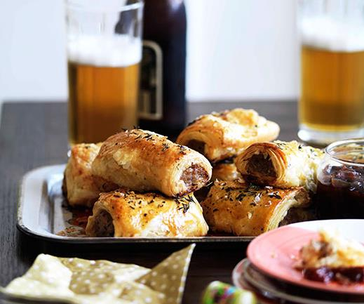 Bangalow pork sausage rolls with caramelised apple and thyme