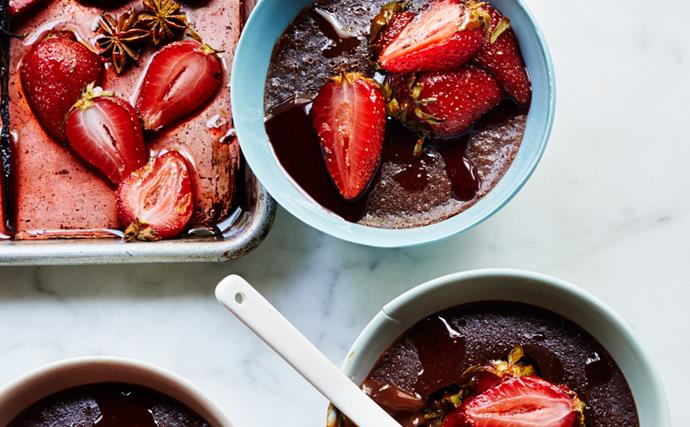 Baked chocolate creams with roasted strawberries