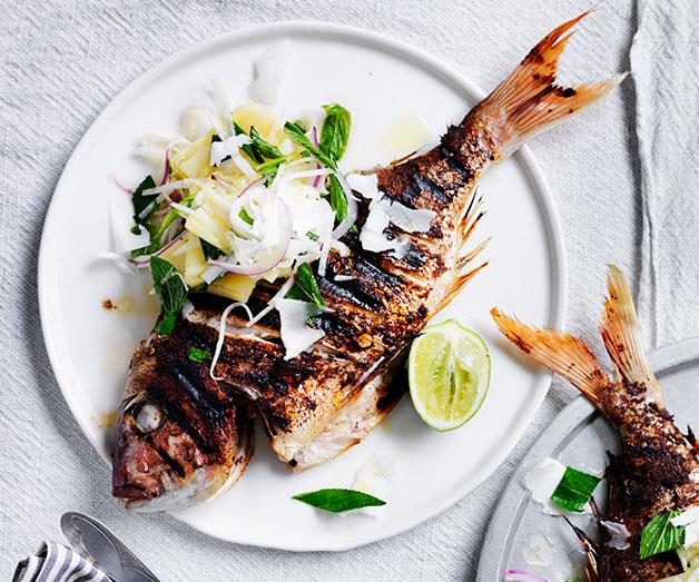 """**[Jerk snapper with pineapple and lime](https://www.gourmettraveller.com.au/recipes/fast-recipes/jerk-snapper-with-pineapple-and-lime-13679 target=""""_blank"""")**"""