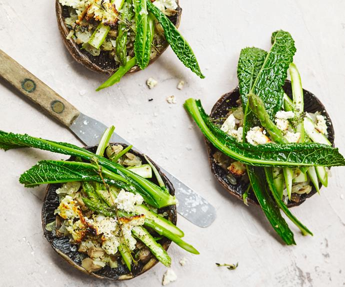 """**[Roasted mushrooms with asparagus and goat's cheese](https://www.gourmettraveller.com.au/recipes/fast-recipes/roasted-mushrooms-19386 target=""""_blank"""")**"""