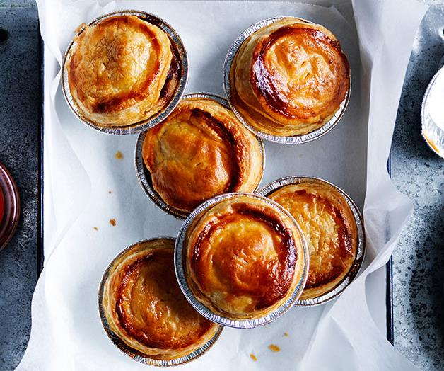 """**[Party pies with homemade tomato sauce](https://www.gourmettraveller.com.au/recipes/browse-all/party-pies-with-homemade-tomato-sauce-12099