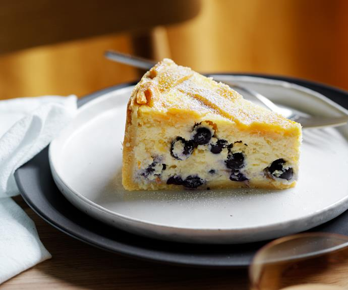"""**[Neil Perry's baked blueberry cheesecake](https://www.gourmettraveller.com.au/recipes/chefs-recipes/blueberry-cheesecake-19393