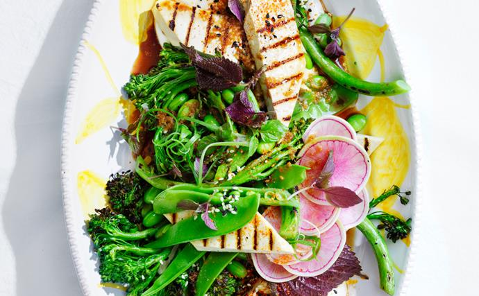 Chargrilled broccolini and tofu salad with soy-yuzu dressing