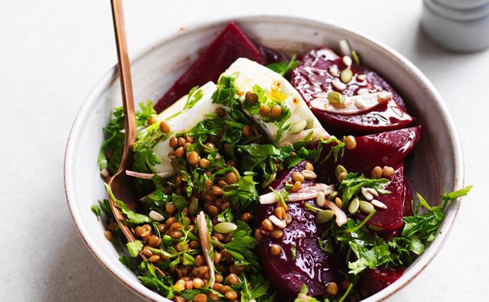 Beetroot, feta and lentil salad
