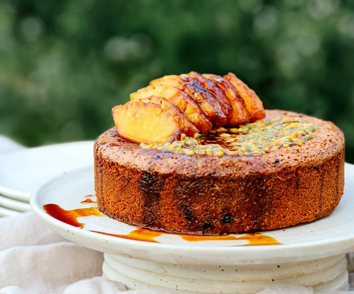Gluten-free passionfruit and almond cake with honey-roasted pineapple by Frida's Field