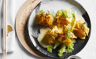 Kazuki's prawn and chive dumplings, sake butter and ponzu