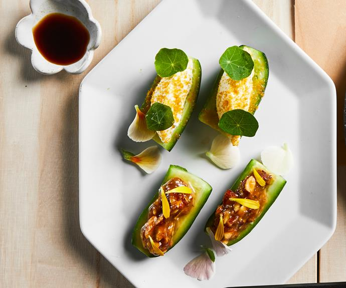 "**[Kazuki's cucumber, two ways](https://www.gourmettraveller.com.au/recipes/chefs-recipes/cucumber-miso-19433|target=""_blank"")**"