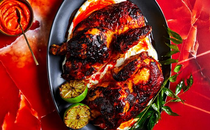 Ben Williamson's harissa chicken, smoked labne and charred lime