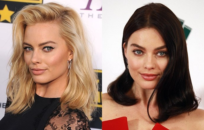 <strong>Margot Robbie </strong> <br>She's the blonde bombshell who's the talk of Tinseltown after her breakout role in <em>The Wolf of Wall Street</em> - so nothing surprised us more to see the young Australian star step out with a deep chocolate brunette hue. We've since found out its for a role (meaning she'll no doubt be going back to her signature colour shortly) but we love how this new shade makes her eyes pop.