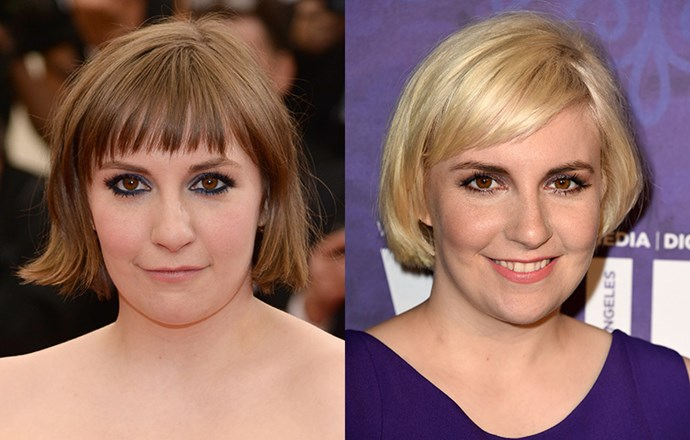 <strong>Lena Dunham</strong> <br>The <em>Girls </em>star has undergone quite the transformation of late, transitioning from her mid-length cut to a pixie, before growing it out into a cute ear-grazing bob. Her latest twist? A bright platinum shade that brings her deep chestnut eye colour.