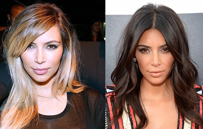 <strong>Kim Kardashian</strong> <br>The reality star proved even the darkest of natural bases can go blonde, debuting honey highlights last year that played up her olive skin tone. The star has since reverted back to her signature deep brunette, and while it's undoubtedly the best option for her, we'll always hold a soft spot for that creamy flaxen shade.