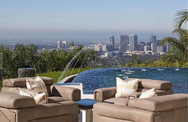 The spacious garden looks relaxing and calming with its several water features and views over downtown Los Angeles.