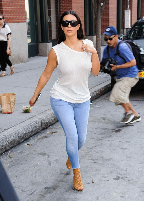 Looking fresh in light blue denim and a white muscle tee in New York on June 17.
