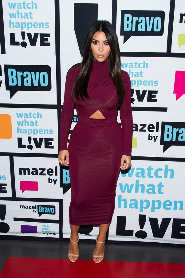 In maroon for Bravo's 'Watch What Happens Live' on August 12.