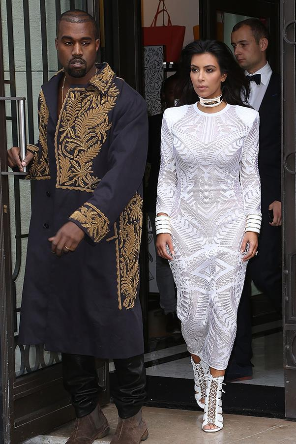 Attending the Balmain show with Kanye West during Paris fashion week on September 26.