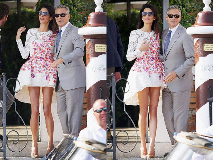 The stunning lawyer showed off her endless legs in a Giambattista Valli couture mini dress.