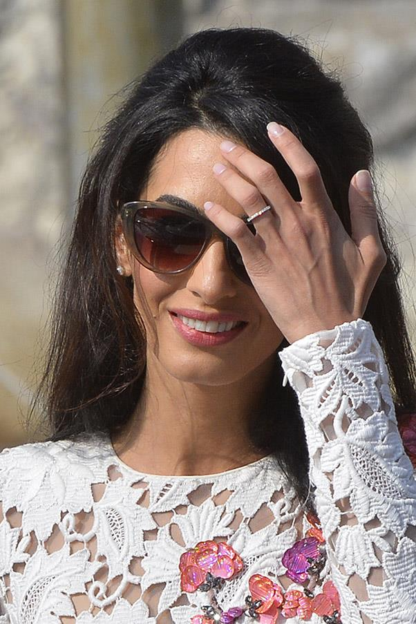 Alamuddin showed off her diamond wedding band for the first time.