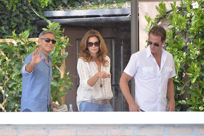Clooney, Cindy Crawford and Rande Gerber meet for breakfast on the morning of the wedding.