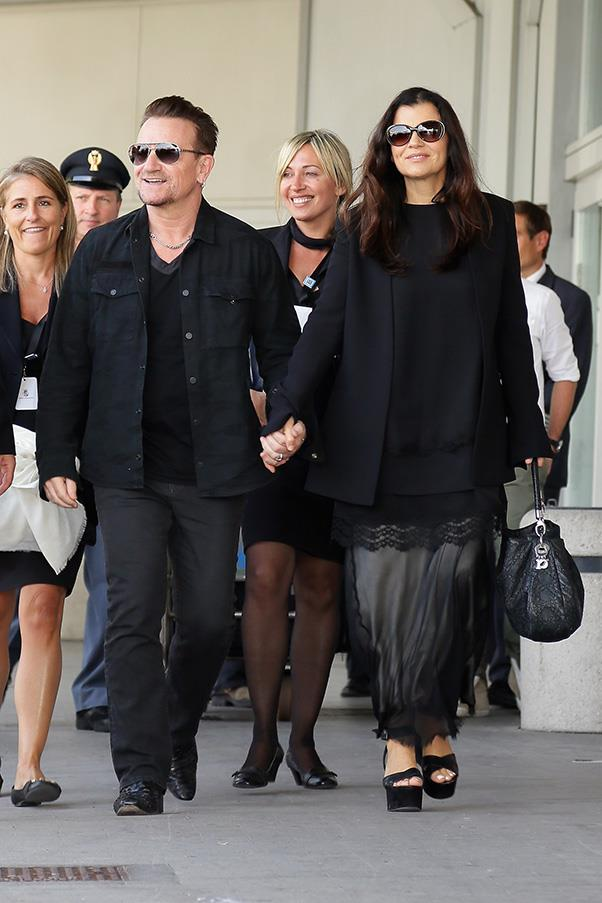 U2 frontman Bono and wife Ali Hewson arrive in Venice for the wedding.