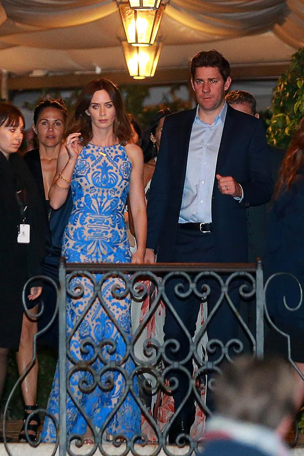 Emily Blunt, pictured here with husband John Krasinski, was dressed by Naeem Khan for the rehearsal dinner.