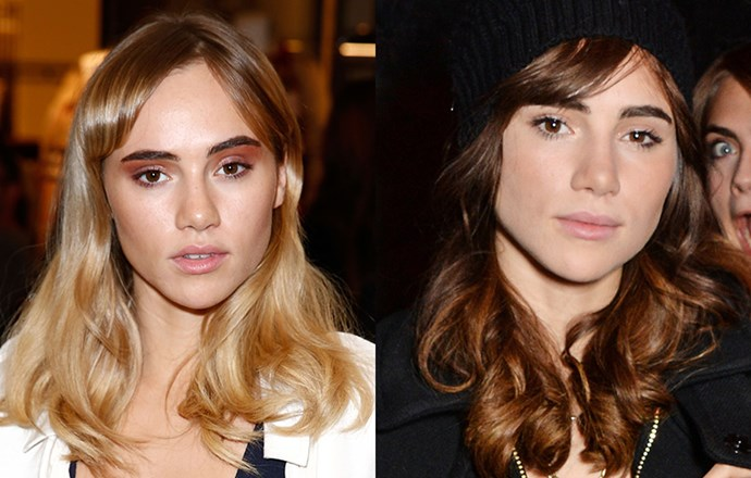 She's famous for her signature honey-blonde locks and fringe, so it was a surprise to see Suki Waterhouse debuting a dark new hue over the weekend. With the young British model's acting portfolio continuing to expand, this new dye job is probably for an upcoming film role - and we can't wait to see it.