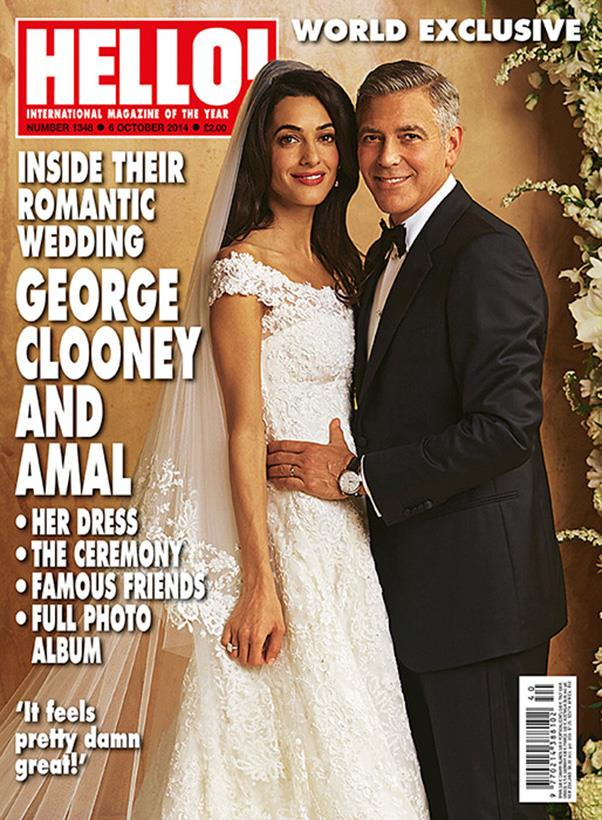 """<a href=""""http://www.hellomagazine.com/celebrities/2014093021176/george-clooney-amal-alamuddin-hello-exclusive/"""">HELLO! magazine</a> have unveiled the first world exclusive of Clooney and Alamuddin's wedding - and the stunning barrister's beautiful wedding gown. The custom-made, French lace dress was designed by Oscar de la Renta and features """"embroidered with pearls and diamanté accents and featured a gorgeous lace overlay and off-the-shoulder sleeves."""""""