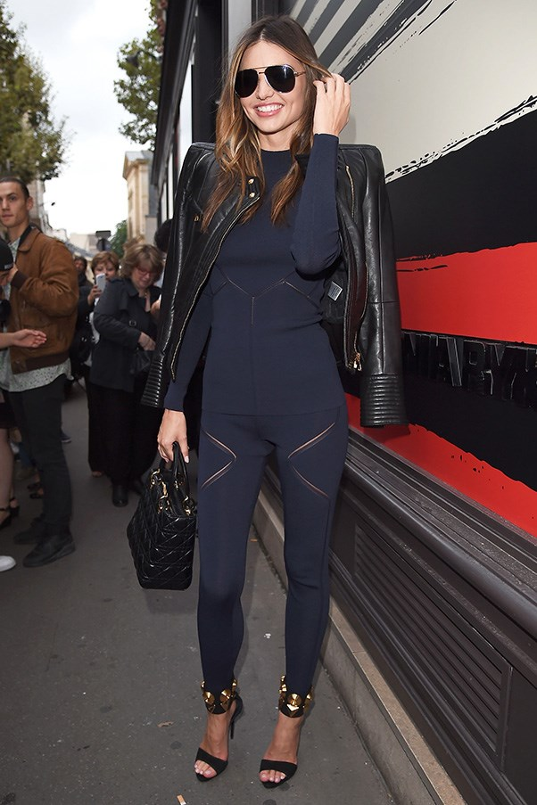On her way to the Sonia Rykiel show during Paris fashion week on September 29.