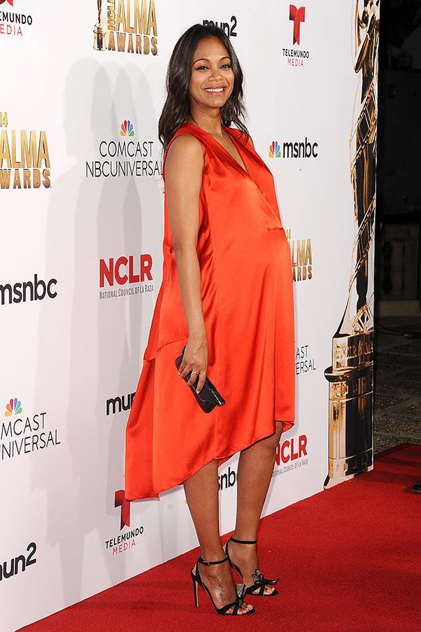 <strong>Zoe Saldana</strong> <br>When it's your first pregnancy and you're expecting twins, it's quite a feat to look chic. Of course it seems to come naturally for Zoe Saldana, who has looked amazing both on and off the red carpet throughout her entire pregnancy.  Here, she matches her glowing skin with a loose fitting silk dress. Just two months to go!
