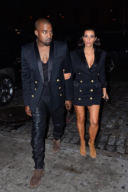 <strong>What</strong>: The couple stepped out for dinner in matching Balmain jackets. <br><strong>When:</strong>November 2014 <br><strong>Where:</strong> NYC