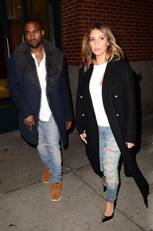 <strong>What:</strong> In matching light-wash denim and white tees, the soon-to-be-engaged couple differentiated their looks with a sleek black coat and pumps for her and a navy fur-lined coat and suede sneakers for him. <br><strong>When:</strong> November 2013 <br><strong>Where:</strong> On the street in NYC