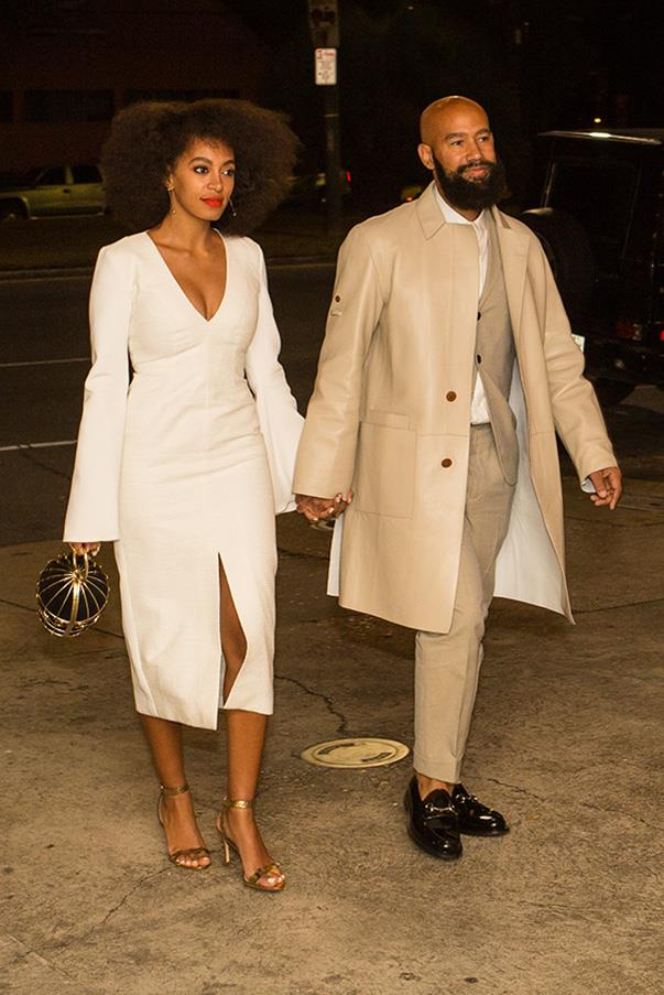 Solange chose to sport a figure hugging, bell-sleeved Ellery number and golden Loeffler Randall heels for the pre-wedding festivities.  The bride and groom opted for a movie night at the Indywood Cinema in New Orleans, playing Diana Ross' Mahogany, which the couple watched on their first date.